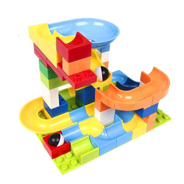 top popular 56 Marble Race Run maze ball track ings model building Designers plastic funnel slide large-size bricks Duplo block 2020