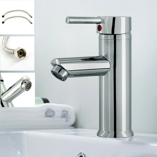 best selling Modern Bathroom Taps Basin Sink Mono Mixer Brushed Finished Cloakroom Tap with 2 Hoses