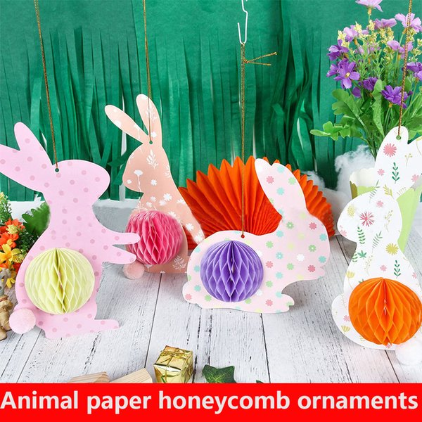 best selling New cartoon bunny honeycomb spiral hanging flag pull flag Easter theme flag holiday party banner decoration