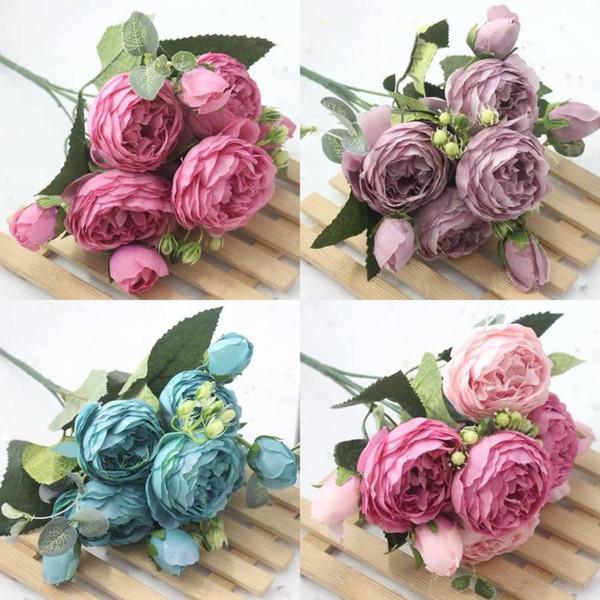 Artificial Flowers1 Bouquet 9 heads Artificial Peony Tea Rose Flowers Camellia Silk Fake Flower flores for DIY Home Wedding Decoration