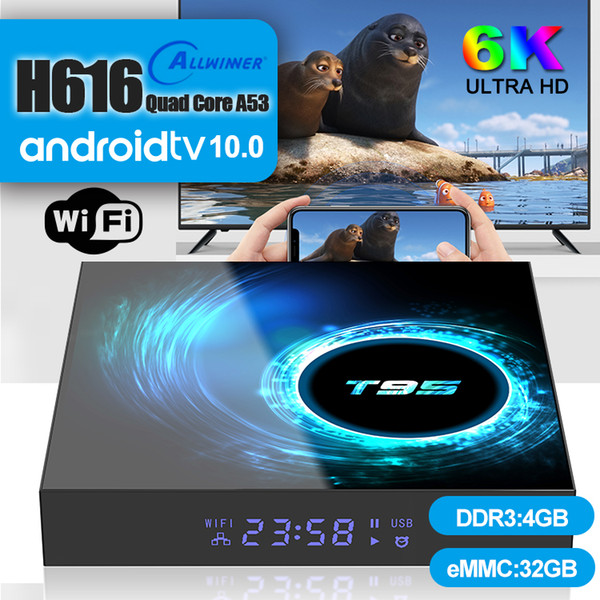 top popular 1 Piece! T95 Android 10.0 TV Box Allwinner H616 4GB+32GB Support 2.4G Wifi 6K Caja de tv android PK X96 Air 2020