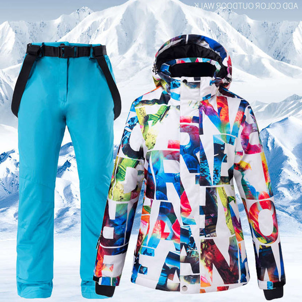 best selling 2020 Hot Sale Women Ski Suit Waterproof Pants+Jacket Set Thickened Warm Snowboard Jacket Fashion Winter Sports Snow Clothes