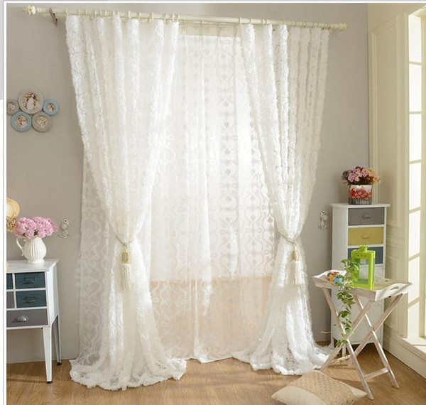 best selling Korean Princess Style white rose Window Blackout Curtains For Living room girls Bedding room Drapes Cotinas para sala decorative