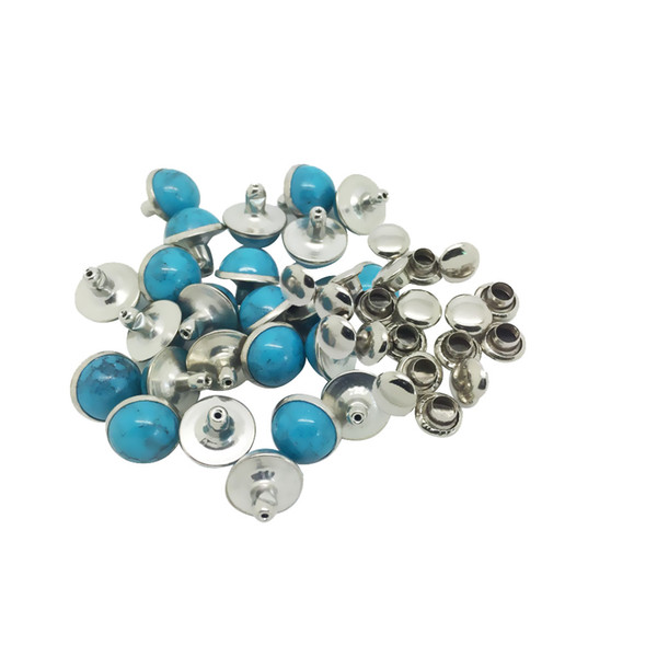best selling 20 Sets Alloy Round Rivets Studs 8mm Turquoise