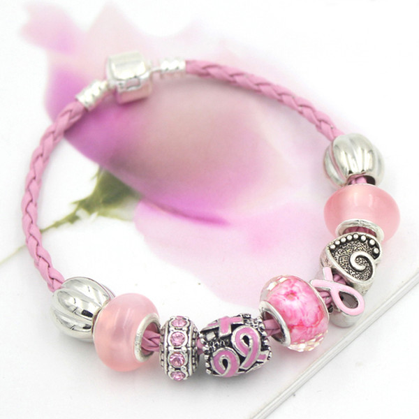 top popular Free Shipping New Arrival Breast Cancer Awareness Jewelry DIY Interchangeable Pink Ribbon Breast Cancer Bracelet Jewelry Wholesale 2021