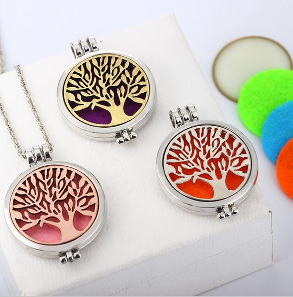 best selling luminous tree of life Censer Aromatherapy Locket Essential Oil Diffuser Floating Hollow Locket Pendant Necklaces ps2832
