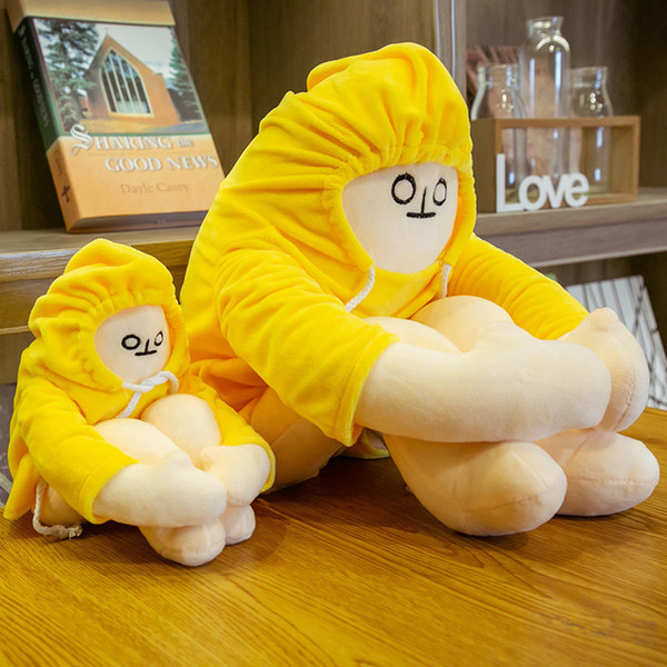 best selling 18cm plush toy squatting banana man emoticon pack doll pillow doll gift doll gift christmas gift