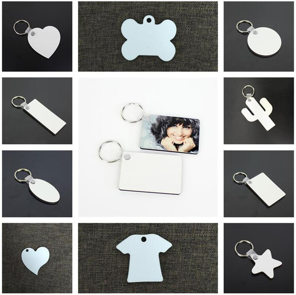best selling 11 Styles Sublimation Blank Keychain MDF Wooden Key Pendant Thermal Transfer Double-sided Key Ring White DIY Gift Key Chain