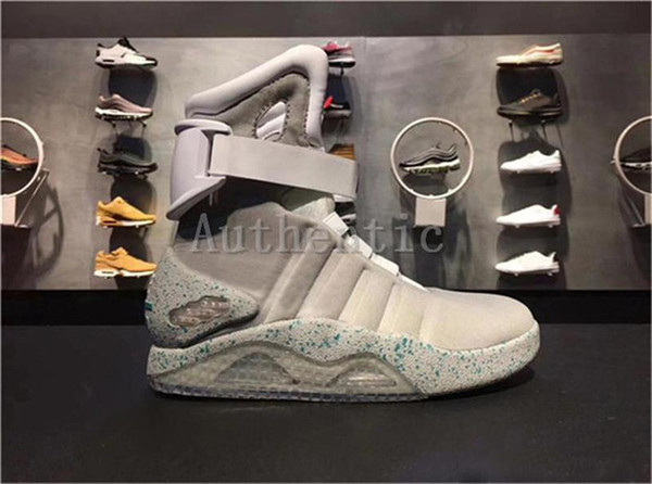 top popular 2020 Mag Back To The Future Glow In The Dark Gray Boots Sneakers Marty Mcfly Led Shoes Black Mag Marty Mcflys Sneakers With Box 2021