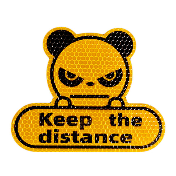 best selling Panda keeps the distance between cars cross-border reflective stickers fluorescent yellow-green hexagonal honeycomb cartoon car decoration