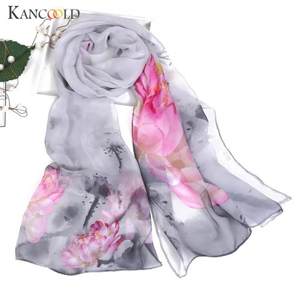 best selling KANCOOLD Scarf Women Fashion Lotus Printing Long Soft Wrap Scarves Ladies Shawl Chiffon high quality scarf women 2020Nov2