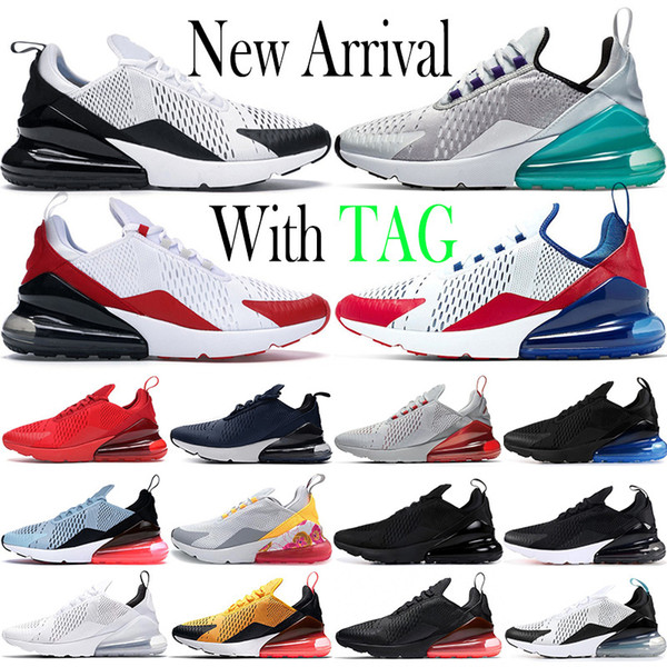 best selling 2021 Cushion 270 Mens Running Shoes Platinum Jade Triple Black White Metallic Gold 270s Sports USA Photo Blue 27c Women Trainers Sneakers Size 36-45
