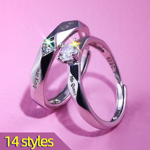 Februaryfrost Brand Trendy Couple Pledge Love Token Ring Sets With Letter His Queen&Her King Engraved Wedding Ring For Women&men Finger Ring