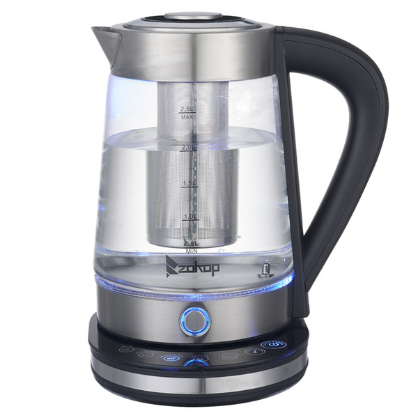 top popular WACO Electric Kettle, LED Light 110V 1500W 2.5L Stainless Steel with Filter, Hot Water Kettle for Tea and Coffee Boiler Heater Blue Glass 2021