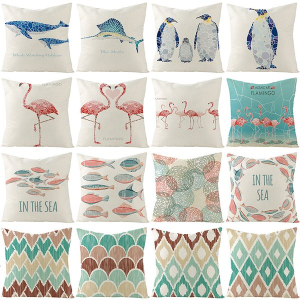 best selling Linen Home Style Mosaic Pillow Art Case Flamingo Summer Wind Cushion Cover