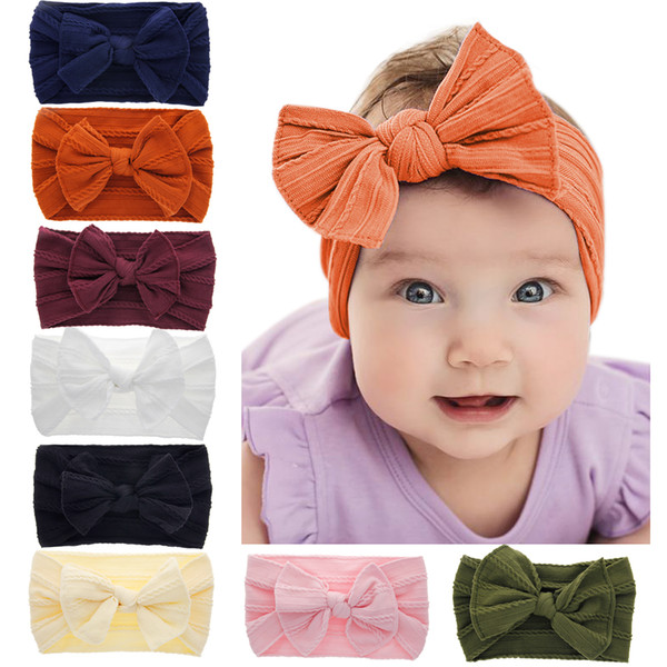 top popular Baby Girls Nylon bow headbands Elastic Bowknot Bunny ear hairbands headwear Kids headdress Turban Knot head bands Wraps KHA705 2021