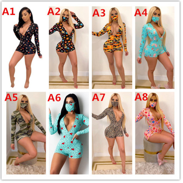 top popular Women Designer Jumpsuits Rompers Sexy Deep V-neck Printed Long-sleeved Button Shorts Tight Playsuit Pants 2020