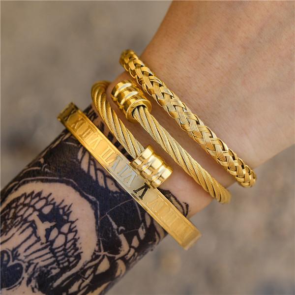 top popular 3pcs Set Roman Numeral Mens Bracelets Stainless Steel Hemp Rope Buckle Open Bangles Gold Pulseira Bileklik Bracelet Jewelry 2021
