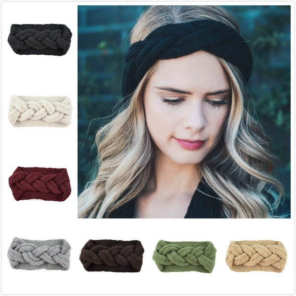 top popular Women Fashion Crochet Hemp rope shape Turban Knitted Head Wrap Hairband Winter Ear Warmer Headband Hair Band For Girl Hair Accessories 2021
