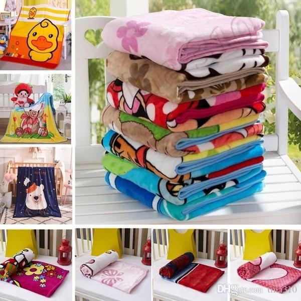 top popular New Kids Blankets Flannel duck bear cat dog Warm cartoon Blankets Smooth Flannel Blankets Baby Beddings Swaddling Blanket 1.0*1.4M 2021