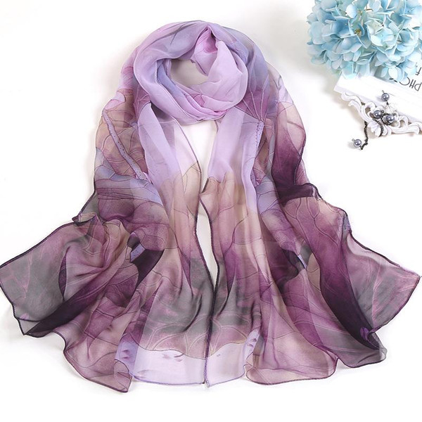 best selling Fashion Scarves For Women Lotus Printing Long Soft Women Wrap Scarf Lady Shawl Scarves Chiffon Slik Ladies Shawl Summer Beach