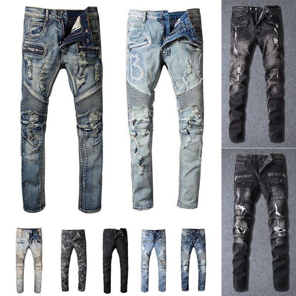 top popular Ripped Fashion Jeans Clothing Designer Pants Light Blue Mens Slim Denim Straight Biker Hole Hip Hop Jeans Men 2021