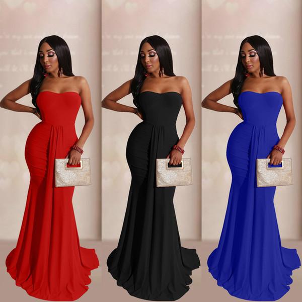 best selling Big size women sexy strapless dress evening dress high waist floor length dress women