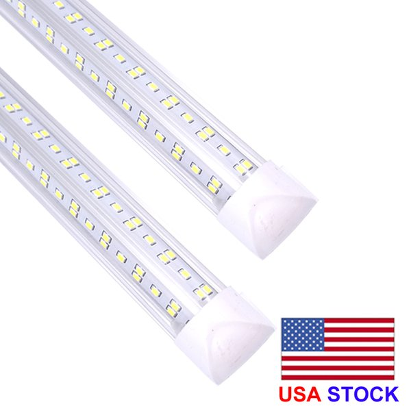 SMD 2835 T8 V shaped Integrated LED tube Double Line Bar light 1ft 2ft 3ft 4ft 5ft 6ft 8ft 85-265V Led Tubes Fixture