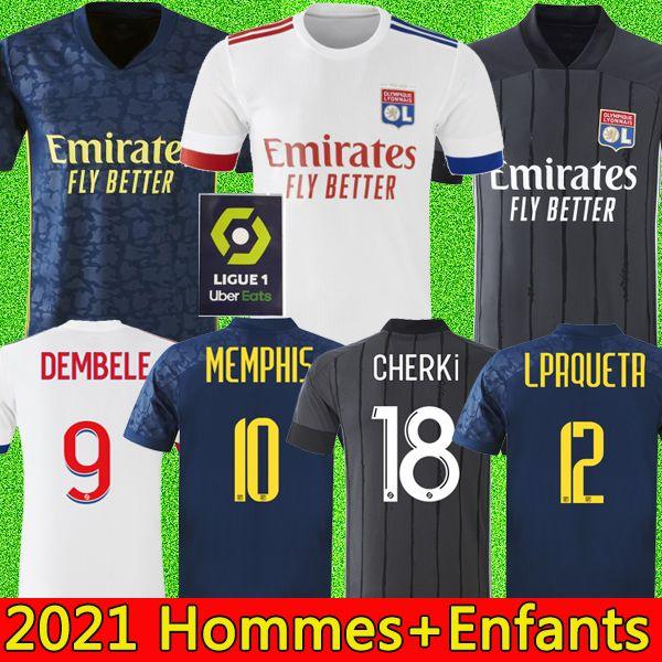 top popular 20 21 Maillot de foot Olympique Lyonnais lyon soccer jersey 2020 2021 maillot de Lyon football shirt TRAORE MEMPHIS OL lyon men kids kits 2020