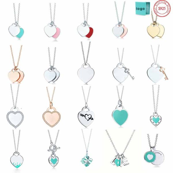 top popular tiff necklace 925 silver pendant necklace female jewelry exquisite craftsmanship classic blue heart necklace wholesal 2021