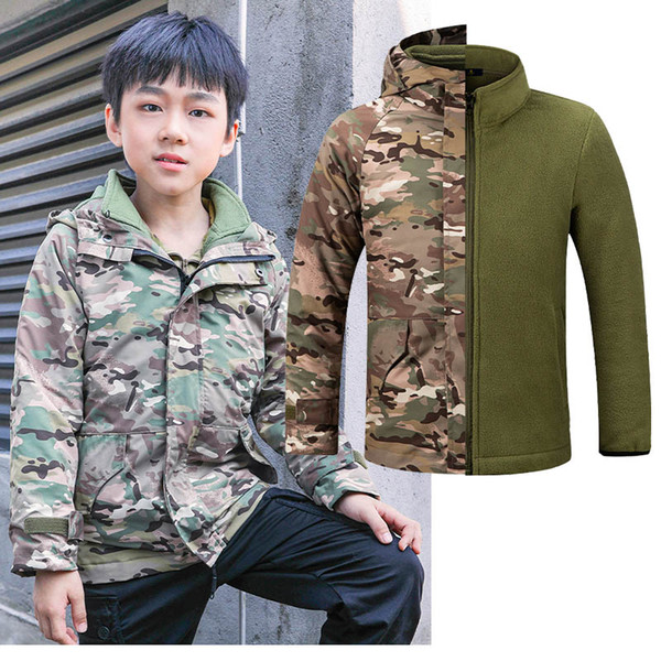 top popular Outdoor Gear Jungle Hunting Woodland Shooting Coat Combat Children Clothing Camouflage Kid Child Jacket with Warm clothing NO05-226 2021