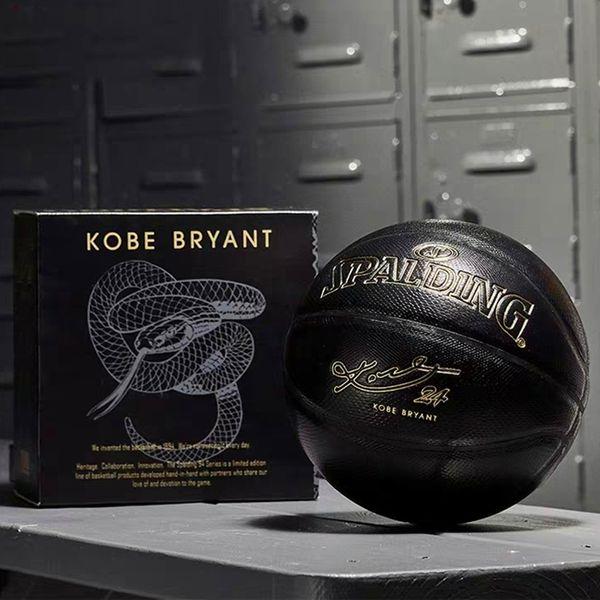 top popular New Spalding 24K Black Mamba Merch basketball Commemorative edition PU wear resistant serpentine ball size 7 2021