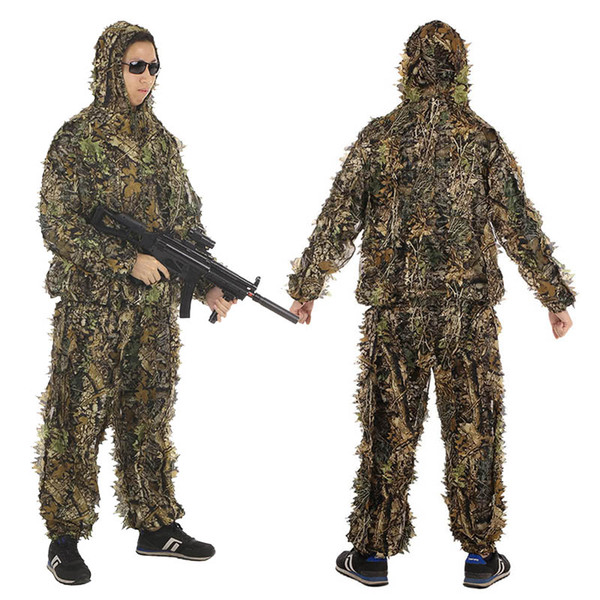 best selling Outdoor Sports Shooting Combat Clothes Birding Suit Camo Bionic Leaf Sniper Camouflage Clothing Tactical Leafy Poncho Ghillie Suit P05-302