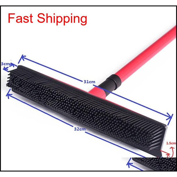 top popular Squeegees Broom Pet Hair Removal Broom Telescoping Handle Carpet Rubber Broom Removable Rod Floor Water Remov qylYOF bdesports 2021