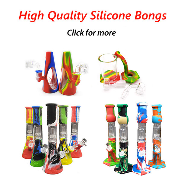 best selling Silicone Bongs Percolators Big Straight Beaker With Glass Filter Bowl Banger for Smoke Hand Pipe Dab Rig Hookah Factory Outlet Free DHL