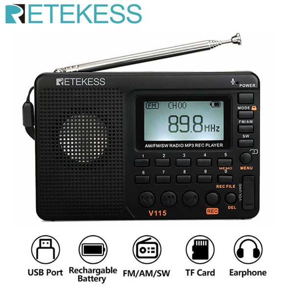 grabación de audio al por mayor-RetEkess V115 de audio portátil V115 Radio AM FM SW Pocket Radio ShortWave FM Altavoz Soporte TF Tarjeta USB Recorder REC