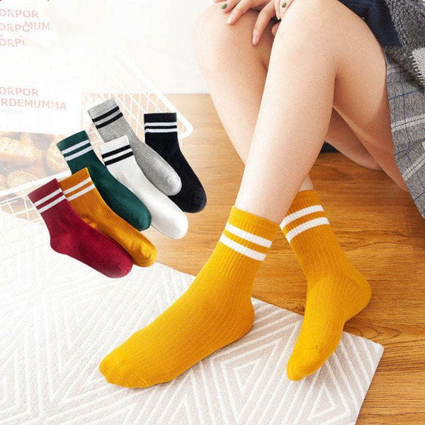 top popular 2021Hosiery children Korean version women's hosiery style autumn and winter two bar long tube college style women's 2021