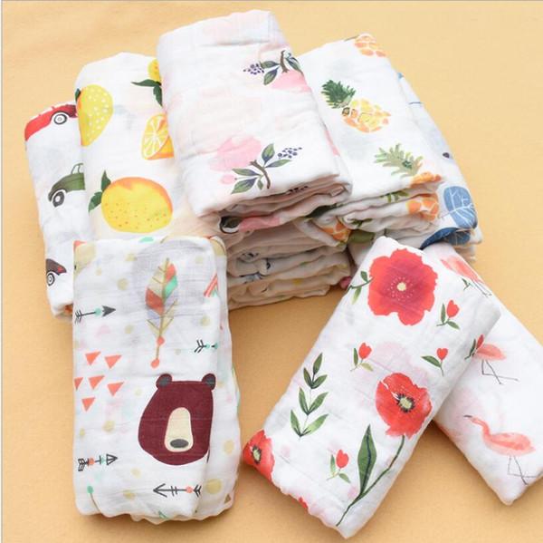best selling Infant Breathable Blanket Lemon Fruit Animal INS Baby Swaddle Baby Infant Soft Bath Towel Wrap Baby Newborn Bathroom Towels Robes LSK1512
