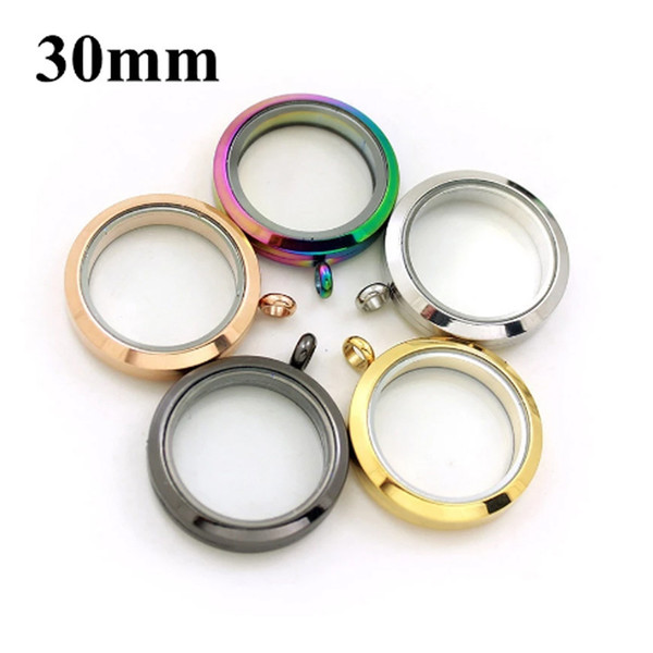 top popular 30mm Silver Rose Gold Black Stainless Steel Floating Lockets Glass Round Memory Necklace Pendant DIY Jewelry With 10pcs Charms 2021