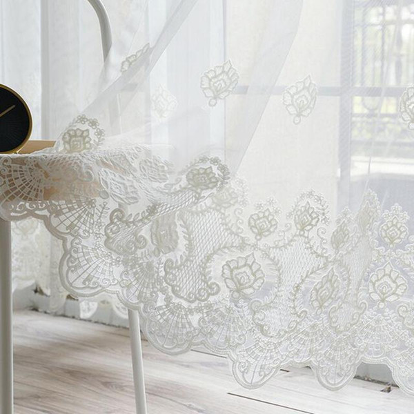 best selling Korean Pure White Lace Embroidered Voile Curtain for Living room Bedroom Embroidered Sheer Tulle Window Treatment Panel AD324D3