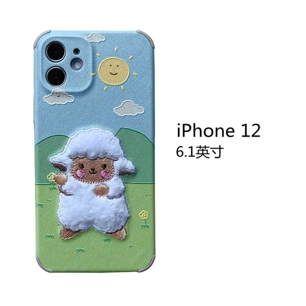 Iphone 12 Embroidery Grassland Sheep