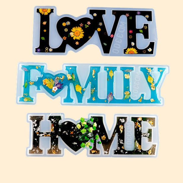 best selling Love Home Family Silicone Mold Love Resin Mold Love Sign Word Epoxy Resin Molds for DIY Table Decoration Art Crafts