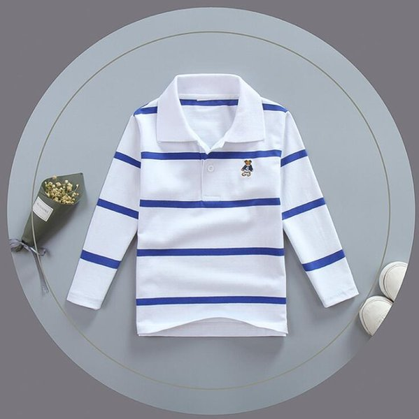 top popular Kids Clothing Tops Polos Designer Boy Clothes Spring And Autumn Pullover Tees Casual Long Sleeve Stripes 2021