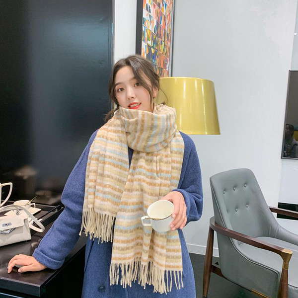 scarf 2020 autumn/winter korean style new women's color woven imitation cashmere scarf plaid shawl dual-use warm striped, Blue;gray