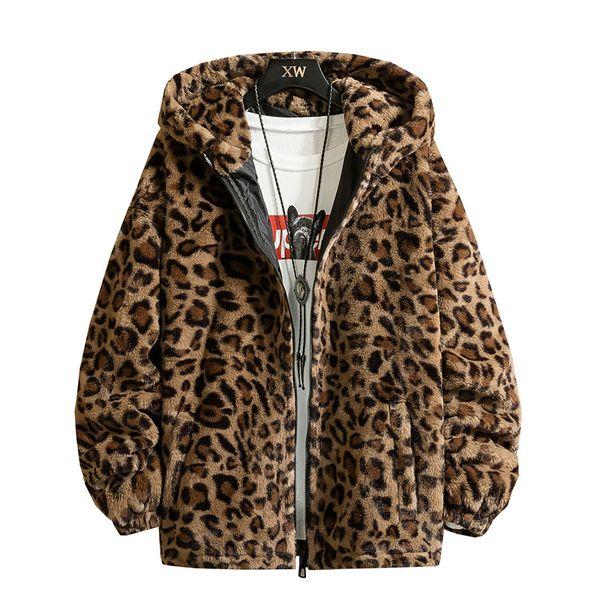 Januarysnow Fashion New Warm Love Winter Jacket Men Coat Woman Hooded Faux Fur Leopard Casual Slim Parka Men's Winter Coat