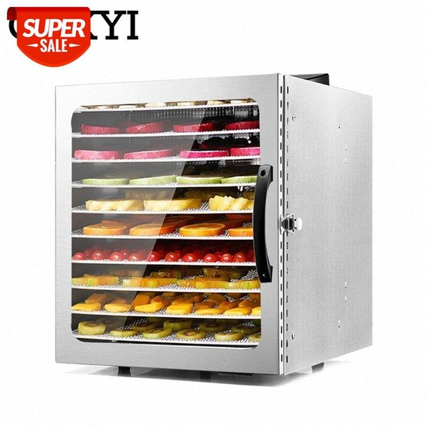 top popular CUKYI 10 Trays Food Dehydrator Stainless Steel Snacks Dehydration Dryer Fruit Vegetable Herb Meat Drying Machine 110V 220V EU US #kP2O 2021
