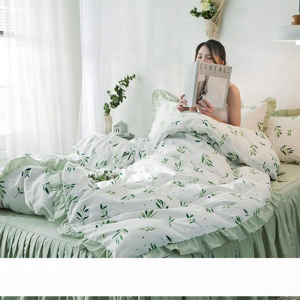 top popular High-Profile Figure Bed Four-Piece Set Bed Skirt All Cotton Pure Cotton Fresh Princess Style Ruffled Bedspread Bed Sheet Quilt Cover 2021