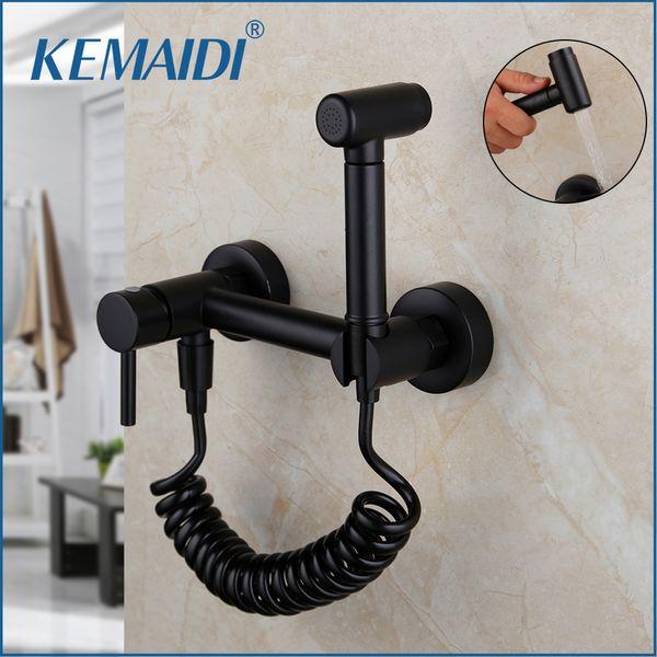 top popular KEMAIDI Matte Black Bidet Shower Faucet Solid Brass Bidet Faucet Ducha Higienica Mixer Hot & Cold Tap Toilet Shower Faucets C0127 2021