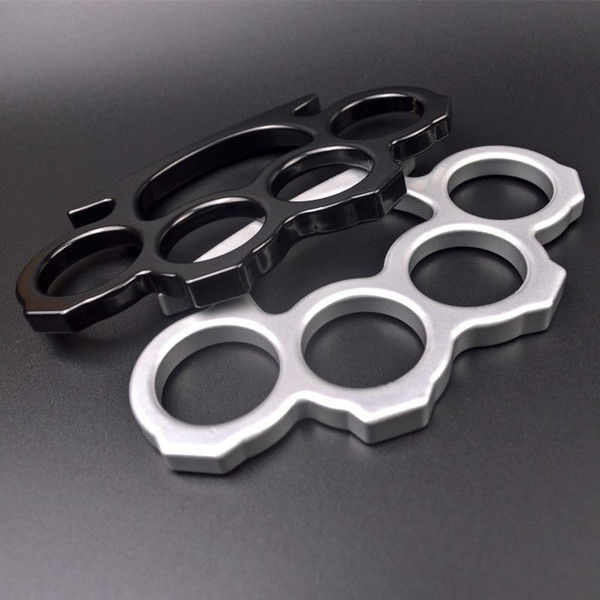 top popular 10PCS Silver and Black Thin Steel Brass knuckle dusters,Self Defense Personal Security Women's and Men's self-defense Pendant 2021