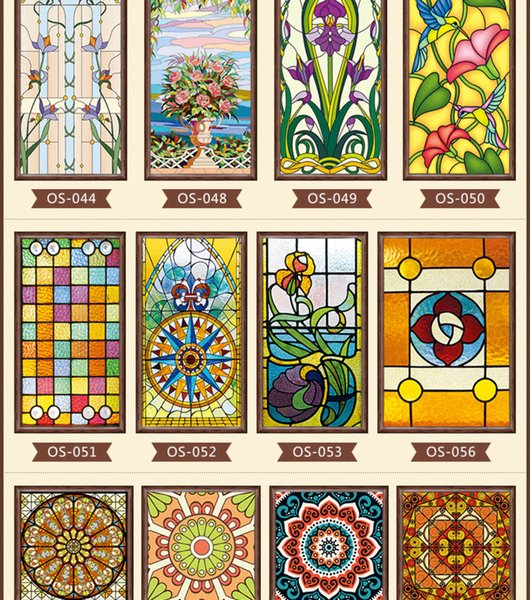 best selling new styles Custom electrostatic frosted stained glass window film, PVC self-adhesive window films,church home foil stickers Y200421